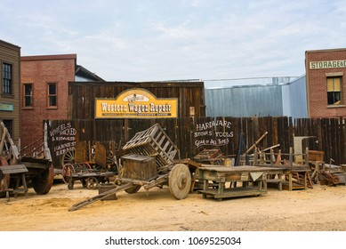LOS ANGELES, CALIFORNIA USA - MARCH, 2018: Shooting location - Wild West artificial streets at Universal Studios Hollywood amusement park