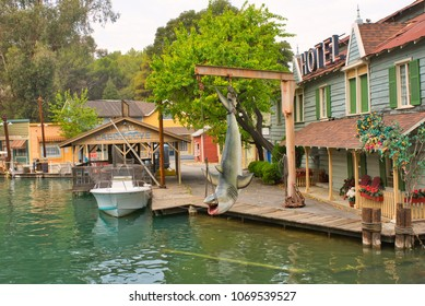 LOS ANGELES, CALIFORNIA USA - MARCH, 2018: Shooting location from Steven Spielberg 'Jaws' blockbuster at Universal Studios Hollywood amusement park
