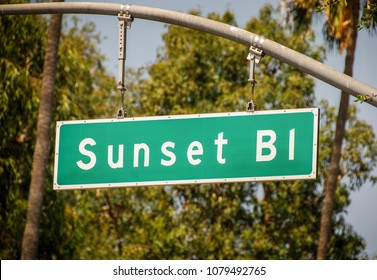 LOS ANGELES, CALIFORNIA, USA - MARCH 2009: Close up of a sign handing from an overhead post on Sunset Boulevard in Hollywood