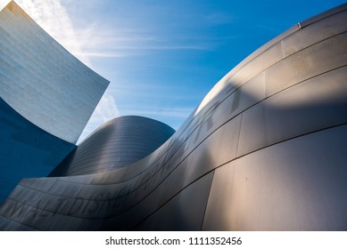 Los Angeles, California / USA - March 4 2018: The Walt Disney Concert Hall exterior on March 4, 2018. The concert hall is a design by architect Frank Gehry and is home to the LA Philharmonic.