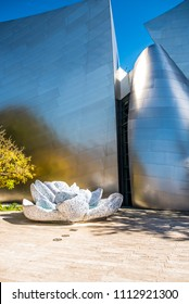 Los Angeles, California / USA - March 4 2018: A large fountain made out of blue Delft porcelain is Frank Gehry's tribute to Lillian Disney in The Blue Ribbon Garden at the Walt Disney Concert Hall.
