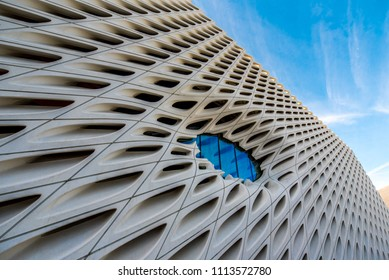 Los Angeles, California / USA - March 4 2018: The exterior of The Broad museum located in downtown Los Angeles. The Broad is a contemporary art museum founded by philanthropists Eli and Edythe Broad.