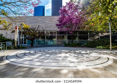 Los Angeles, California / USA - March 4 2018: The Blue Ribbon Garden located on the upper terrace behind the Walt Disney Concert Hall in downtown Los Angeles.