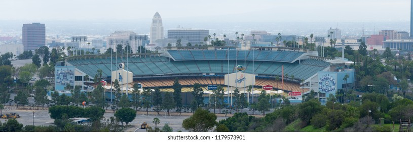 Los Angeles, California, USA - March 03, 2017: Aerial view of Dodgers Stadium