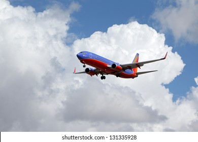 LOS ANGELES, CALIFORNIA, USA - MARCH 8, : Southwest Airlines Warrior One 737-800 lands at Los Angeles Airport on  March 8, 2013. The plane seats 126 passengers with a range of 10,200 km