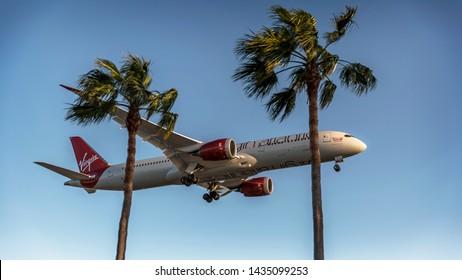 Los Angeles, California / USA - March 27 2017: Virgin Atlantic B787 landing at LAX