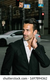 Los Angeles, California / USA - March 7th 2019: Men's business casual fashion street-style photo-shoot