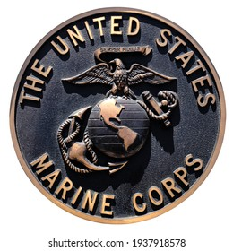 Los Angeles, California  USA - March 12 2019: U.S. Marine Corps, crest or plaque on white background