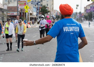 Los Angeles, California, USA - March 15, 2015: Unidentified volunteer participating in the 30th LA Marathon Edition