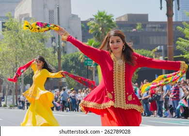 Los Angeles, California, USA - March 21, 2015 -  Persian dancers performing at the Norooz Festival and Persian Parade new year celebration.