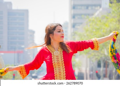 Los Angeles, California, USA - March 21, 2015 -  Persian dancer performing at the Norooz Festival and Persian Parade new year celebration.