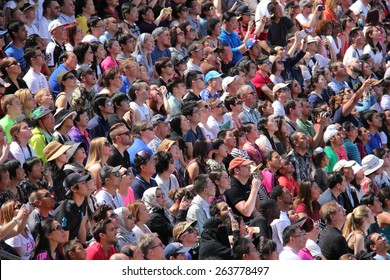 Los Angeles, California, USA - March 12, 2015: Crowd watching Water World Show at Universal Studios Hollywood