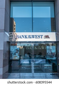 Los Angeles, California, USA, March 01, 2017: Bank of the West entrance door