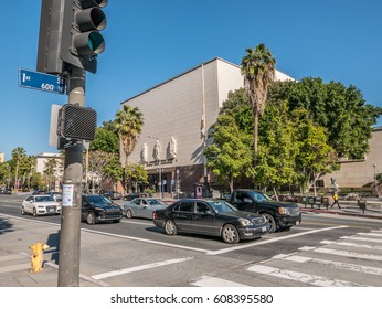 Los Angeles, California, USA, March 01, 2017: Corner of N Grand Ave and W 1st St