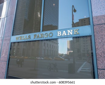 Los Angeles, California, USA, March 01, 2017: Wells Fargo Bank sign