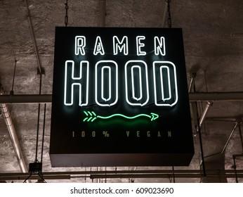 Los Angeles, California, USA, March 01, 2017: Grand Central Market, Ramen Hood 100% Vegan neon sign