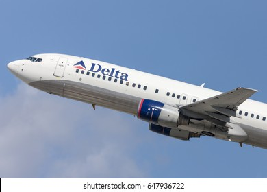 Los Angeles, California, USA - March 10, 2010: Delta Air Lines Boeing 737-800 aircraft taking off from Los Angeles International Airport.