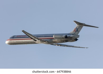 Los Angeles, California, USA - March 10, 2010: American Airlines McDonnell Douglas MD-82 aircraft taking off from Los Angeles International Airport.
