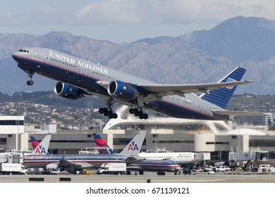 Los Angeles, California, USA - March 10, 2010: United Airlines Boeing 777 airplane taking off from Los Angeles International Airport.