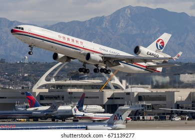 Los Angeles, California, USA - March 10, 2010: China Eastern Airlines Cargo McDonnell Douglas MD-11 Cargo aircraft departing Los Angeles International Airport.