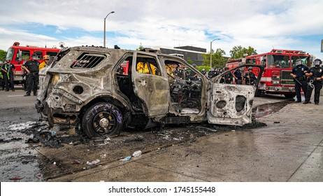 Los Angeles, California, USA - May 30, 2020: Burnt Police Vehicle During LA Protests