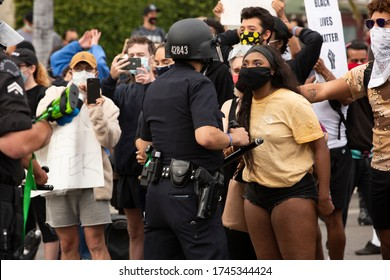 Los Angeles, California / USA - May 30, 2020: People in the Fairfax District of Los Angeles protest the brutal police killing of George Floyd.