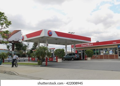 Los Angeles, California, USA - May 8, 2016: 76, owned by Phillips 66 Company, is a chain of gas stations located within the United States