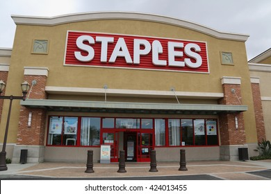 Los Angeles, California, USA - May 8, 2016: Staples, Inc. is a large office supply chain store selling office supplies, furniture and technology in 26 countries.