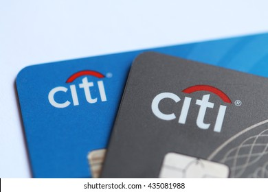 Los Angeles, California, USA - May 26, 2016: Citi Credit Card is one of products of Citibank, the consumer division of financial services multinational Citigroup.