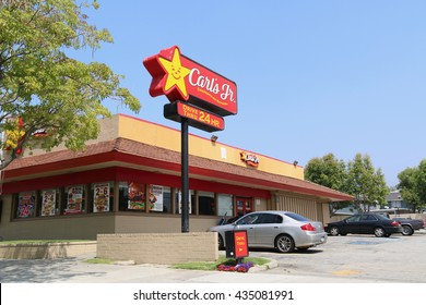 Los Angeles, California, USA - May 13, 2016: Carl's Jr. is an American-based quick service restaurant chain operating in 44 states and 38 foreign countries and U.S. territories.
