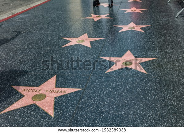 Los Angeles, California, USA. May 31, 2019. The LA Hollywood Walk of Fame. The brass stars that embedded in the sidewalks is a remembrance of celebrities.