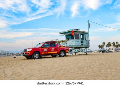 Los Angeles - California - USA, November 25. 2018 Lifeguard tower in LA typical Baywatch.