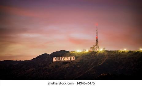 Los Angeles, California / USA - November 25 2017: Hollywood Sign at sunset