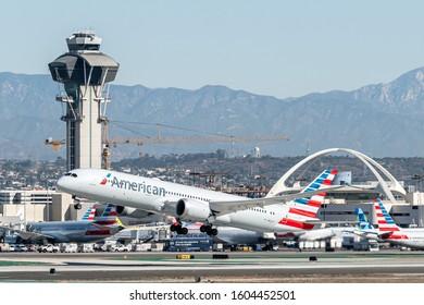 Los Angeles, California, USA - November 2, 2019: Boeing 787-9 Dreamliner - American Airlines, Los Angeles International Airport (LAX).
