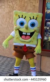 Los Angeles, California, USA - November 22, 2015: SpongeBob SquarePants, an American animated television series, is greeting tourists at Universal Studios Hollywood.