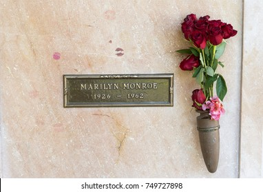 Los Angeles, California, USA, November 5, 2017: Marilyn Monroe's Crypt with flowers at Westwood Memorial Park . She died on 5th of August 1962.