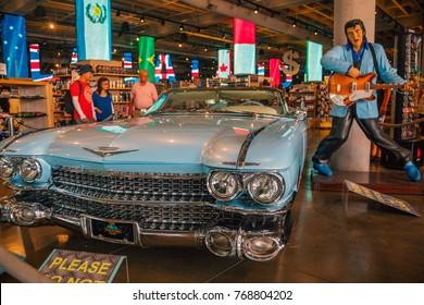 Los Angeles, California, USA - November 18, 2017: Elvis Presley's Car. Elvis Aaron Presley was an American singer, musician, and actor. He Loved cars.
