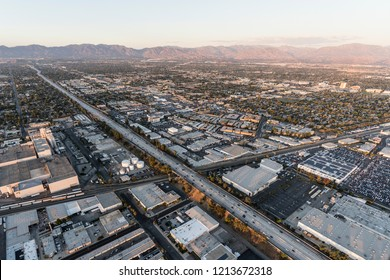 Los Angeles, California, USA - October 21, 2018:  Aerial view of the 405 freeway near Roscoe Blvd in the San Fernando Valley area of Los Angeles, California.