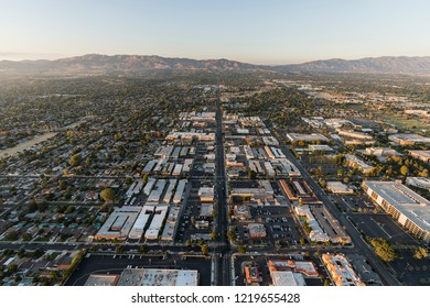 Los Angeles, California, USA - October 21, 2018:  Aerial view of Reseda Blvd and Northridge in the San Fernando Valley area of Los Angeles, California.