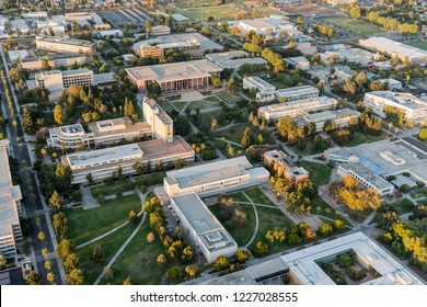 Los Angeles, California, USA - October 21, 2018:  Late afternoon aerial view of California State University Northridge central campus buildings in the San Fernando Valley.