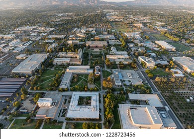 Los Angeles, California, USA - October 21, 2018:  Late afternoon aerial view of California State University Northridge campus facilities in the San Fernando Valley.