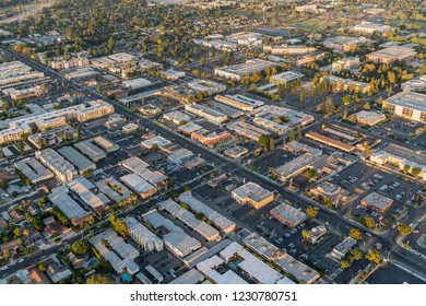 Los Angeles, California, USA - October 21, 2018:  Aerial view of Reseda Blvd near Cal State University Northirdge in the San Fernando Valley area of Los Angeles, California.