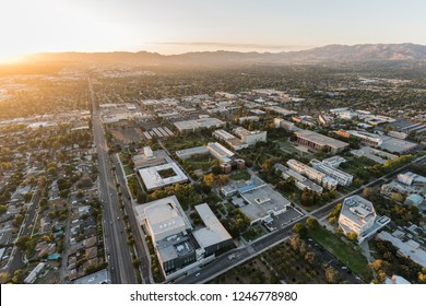 Los Angeles, California, USA - October 21, 2018:  Aerial sunset view of California State University Northridge campus and Nordhoff Street in the San Fernando Valley.