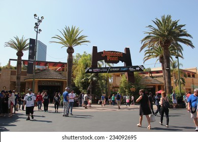 Los Angeles, California, USA - October 10, 2014: Scenery of Jurassic Park The Ride at the lower lot of Universal Studios Hollywood.