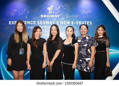 """Los Angeles, California, USA - Segway introduces their new product """"Segway Drift W1 e-Skates"""" and Ninebot """"GoKart"""" on July 24, 2018."""