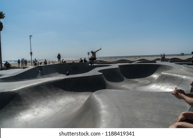Los Angeles, California - USA - September 7th 2018 - Venice Beach Skate Park with skateboarders having fun on a sunny day