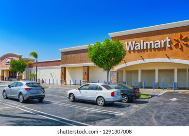 Los Angeles,  California, USA - September 23, 2018: Store building Walmart in Los Angeles.