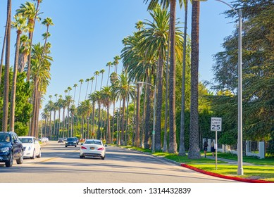 Los Angeles, California, USA - September 23, 2018:Urban views of the Beverly Hills area and residential buildings on the Hollywood hills. California. USA.