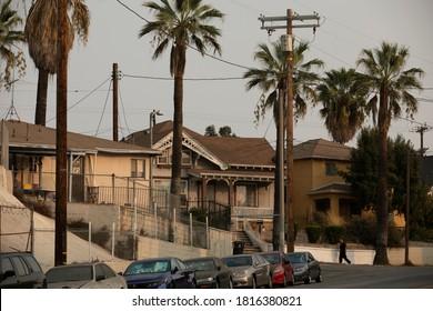 Los Angeles, California / USA - September 15, 2020: The sun sets on a neighborhood in East LA.