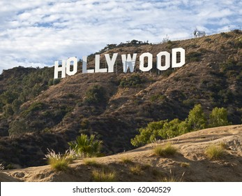 Los Angeles, California, USA - September 29, 2010:  Afternoon view of the famous Hollywood Sign on Mt Lee in popular Griffith Park.